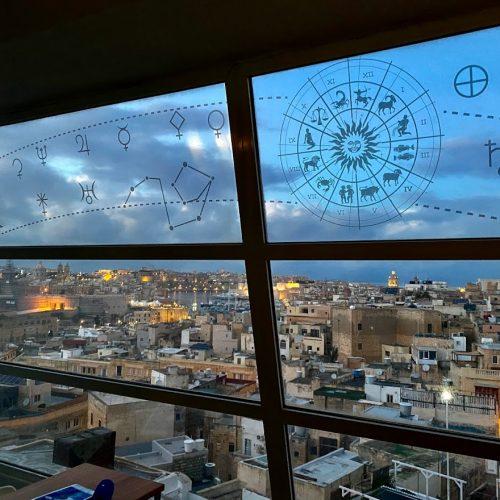 Penthouse astrology prints on glass